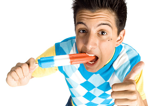 Dude eating popsicle