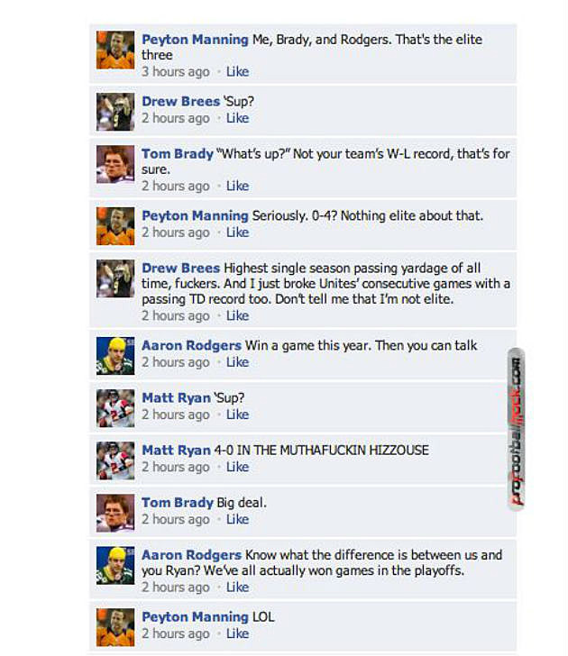 NFL Quarterbacks on Facebook