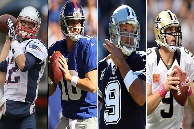 Drew Brees, Eli Manning, Tony Romo and Tom Brady