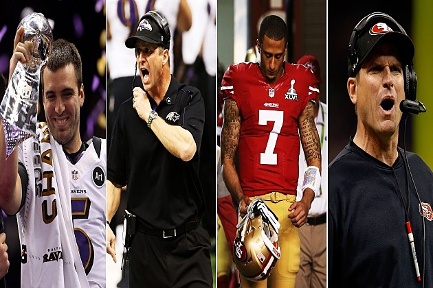 Joe Flacco, Jim Harbaugh, Colin Kaepernick, John Harbaugh
