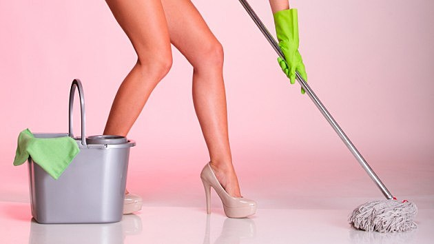 naked woman mopping